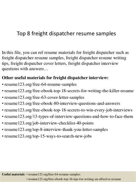 top 8 freight dispatcher resume sles