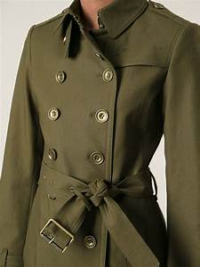 lyst burberry trench coat in green