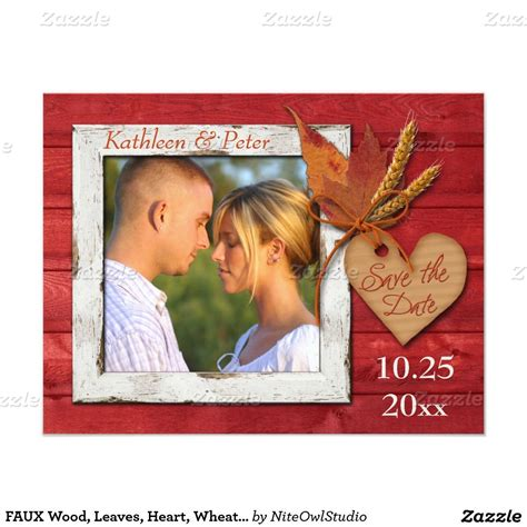 faux wood leaves heart wheat photo save date