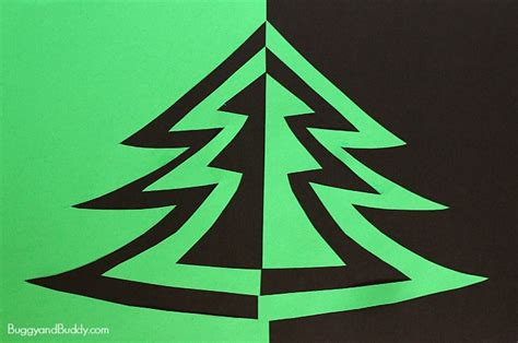 symmetry christmas tree art project for kids buggy and buddy