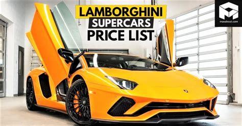 lamborghini supercars price list  india full lineup