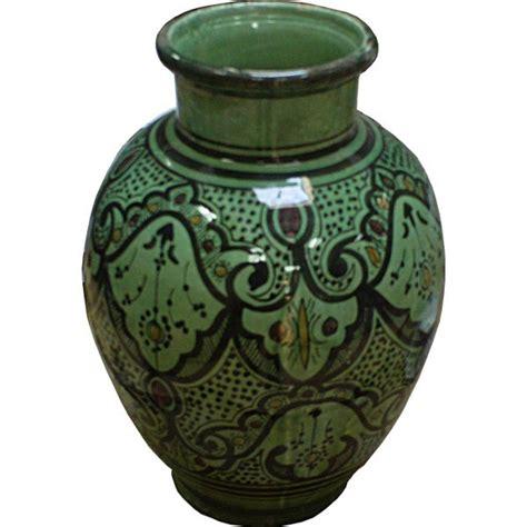 vase marocain vert artisanal en ceramique safi maroc