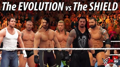 WWE 2K16 - The Evolution vs The Shield | 6 Man Tag Team ...