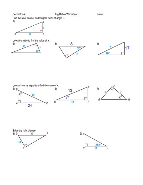 worksheet trigonometry ratios in right triangles