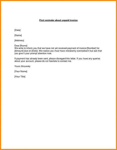 outstanding invoice letter short paid invoice