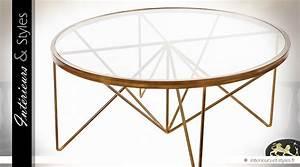 Table Basse Design Ronde En Verre Et Mtal Dor L