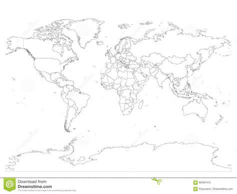 Carte Du Monde Avec Des Frontières De Pays, Contour Noir
