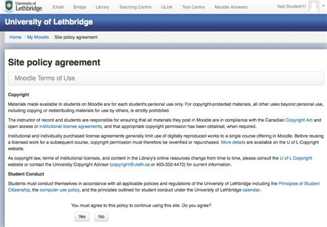 Moodle Terms Of Use Policy Agreement