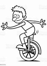 Unicycle Coloring Boy Pages Illustration Template Sketch Acting Activity Culture Performance Entertainment Arts Craft sketch template