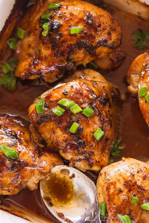 thighs chicken baked oven marinated diethood