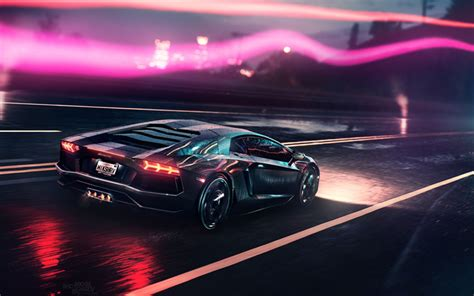 Download Wallpapers Night, Lamborghini Aventador