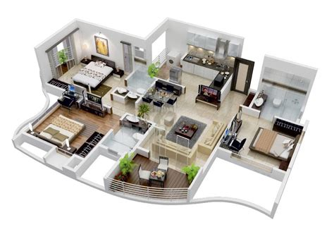 house open floor plans 25 more 3 bedroom 3d floor plans architecture design