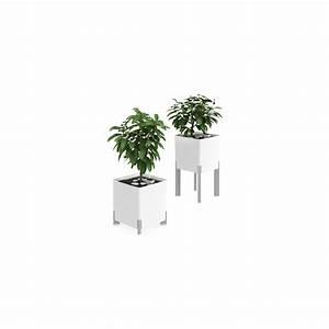 Pot À Réserve D Eau : pot de fleur design carr blanc sur pied avec r serve d ~ Louise-bijoux.com Idées de Décoration