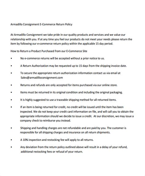 Return Policy Template  7+ Free Word, Pdf Document
