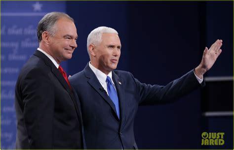 tim kaine mike pences wives shake hands  vp debate