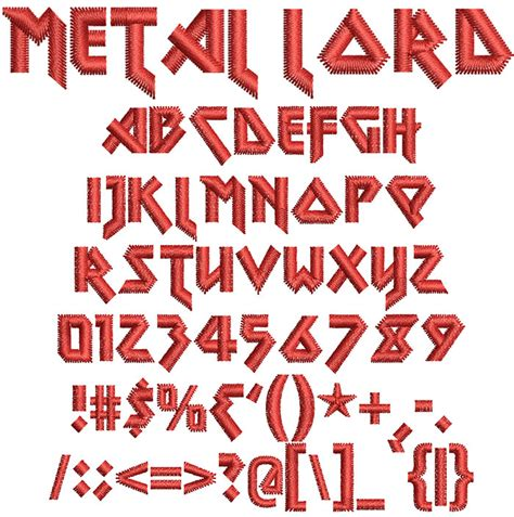 metal lord embroidery font  wilcomembroideryfonts