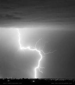 Cloud to Ground Lightning Strike Black and White Portrait ...