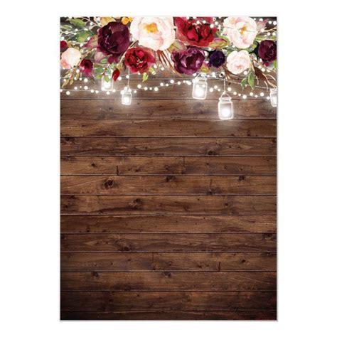 rustic wood burgundy floral lights quinceanera invitation