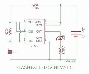 Flashing  Blinking Led Circuit Using 555 Timer