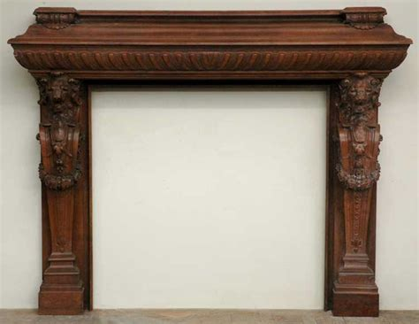 Antique Mahogany Mantel With Lion Heads-wood