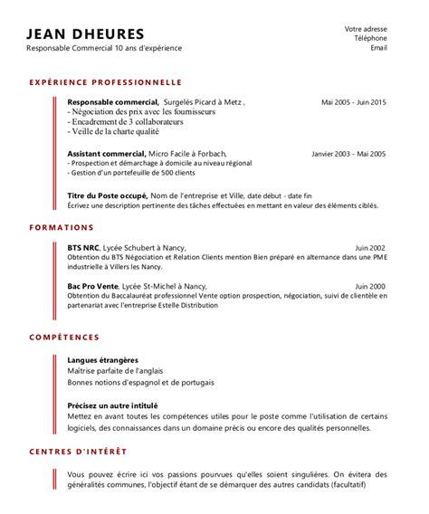 Modele Cv Commercial Word by Exemple De Cv Commercial Et Vendeur