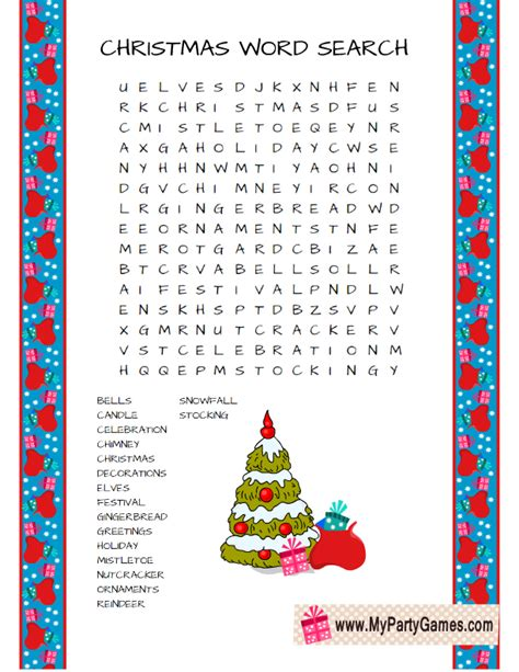 free printable christmas word search game