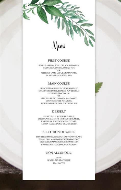 greenery wedding menu template green leaf menu cards