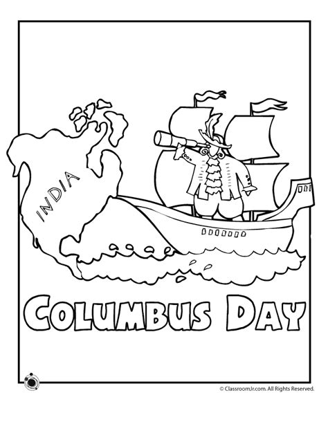 Columbus Day Coloring Page  Az Coloring Pages