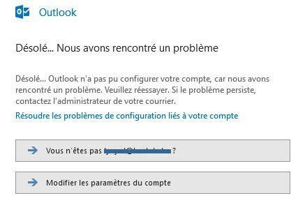 impossible dajouter  adresse mail dans outlook