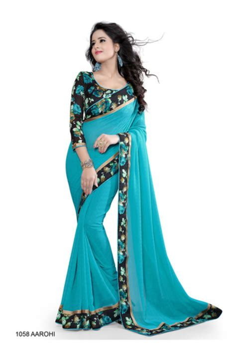 Buy Blue Saree Sari With Printed Blouse Online Interiors Inside Ideas Interiors design about Everything [magnanprojects.com]