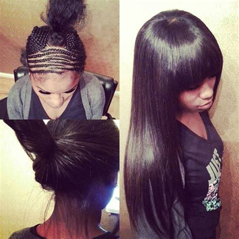 Sew In Weave Bob Hairstyles With Bangs by Sew In With Bangs You Can Pull It Up Or Wear It This