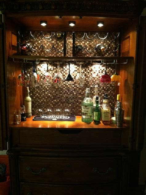 armoire cabinet into a bar converted my armoire into a mini bar i this