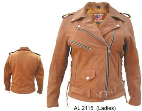 Allstate Leather Ladies Womens Brown Leather Motorcycle