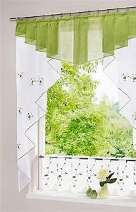 Panneaux Gardinen Modern : 1 st kurzstore scheibengardine 120 x 125 wei gr n bestickt panneaux voile neu ebay ~ Markanthonyermac.com Haus und Dekorationen