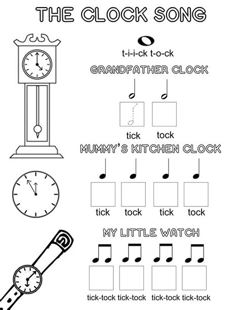 Let's Play Music  Free Music Theory Worksheet  The Clock Song  A Fun Way To Teach Kids