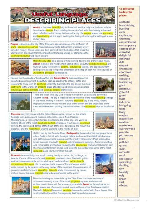 language describing places worksheet  esl