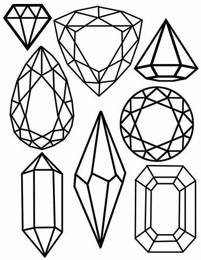 Gem Printable Jewel Clipart Coloring Gems Crystal