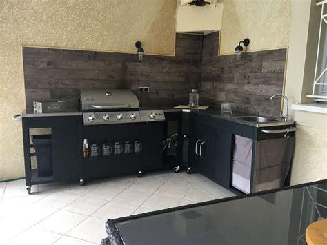 cuisine au gaz rochefort barbecue au gaz 5 brûleurs avec évier planche ustensiles plan de travail et