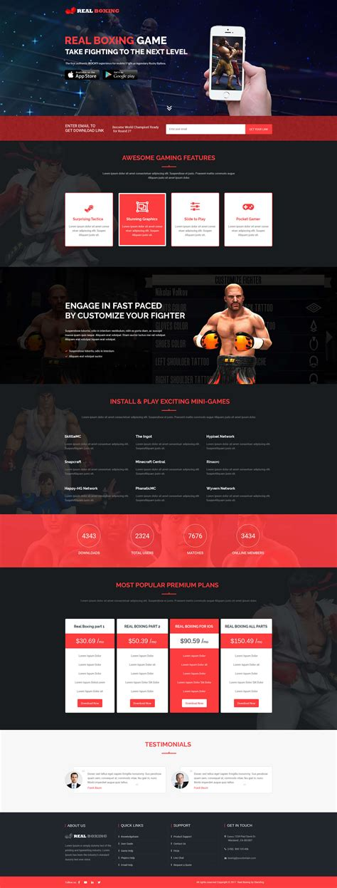 boxing game landing page design template  promote