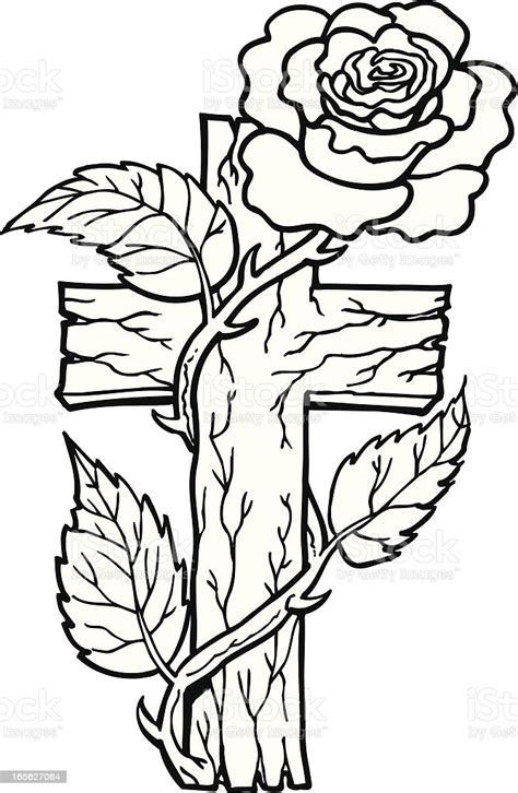 cross  rose stock illustration  image  istock