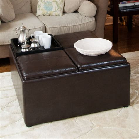 Square Black Leather Ottoman Coffee Table With Storage On