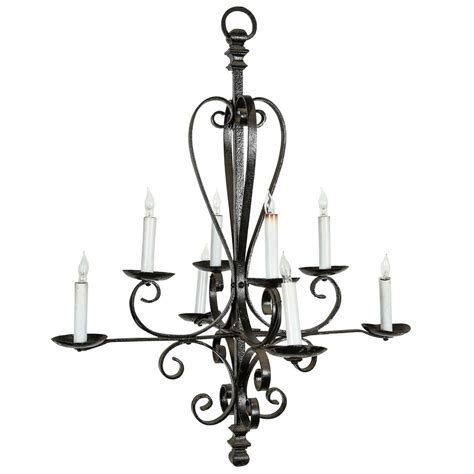 eight candle wrought iron chandelier