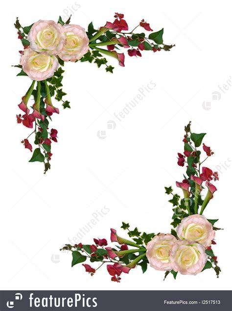 templates floral border roses  calla lily stock