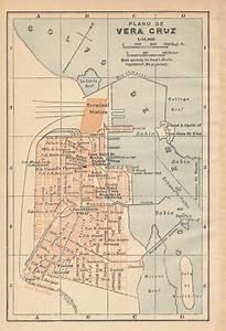 1911 Vera Cruz Mexico Antique Map