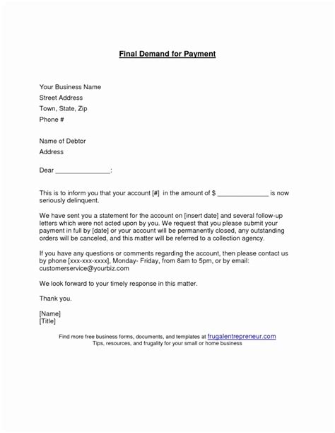 demand  payment letter template  examples letter