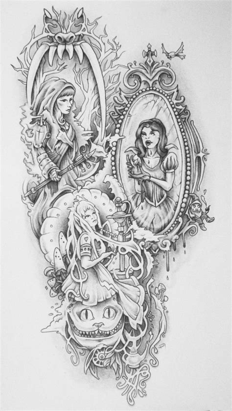 Badass Fairy Tales Tattoo (Shaded) by bedowynn.deviantart.com on @deviantART | Fairy tale tattoo