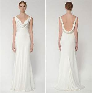 Cowl neck beach wedding dress seashells wedding bells for Cowl neck wedding dress