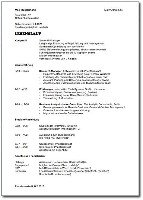 Vorlage Lebenslauf by Muster Lebenslauf Word Muster Lebenslauf Berufsanf 228 Nger
