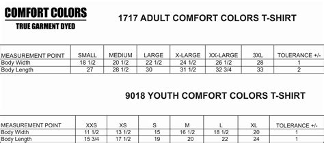 comfort colors size chart comfort colors sleeve t shirt 1717 9018