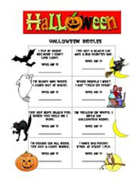 Halloween Jokes Riddles Adults by Halloween Riddles Worksheet By Grace Freire